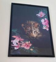 quadro con leopardo in tessuto
