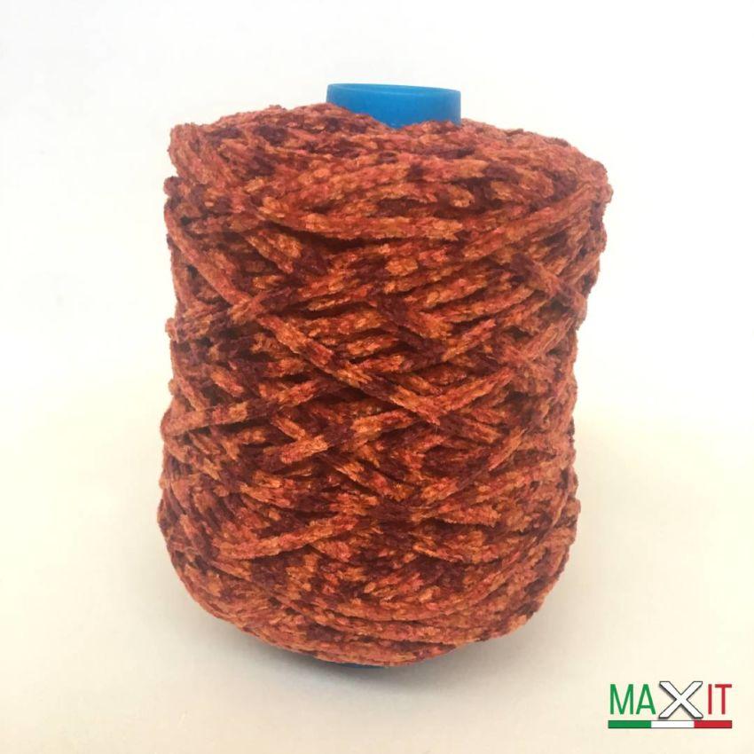 Chenille Yarn mixed Colors BORDEAUX/ORANGE