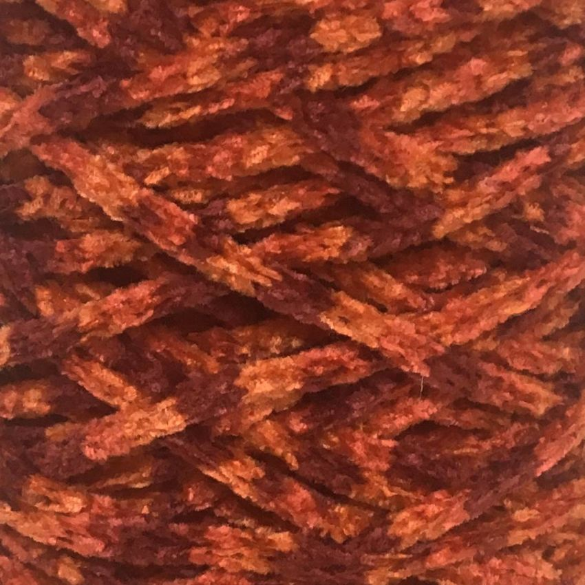 Chenille Yarn mixed Colors BORDEAUX/ORANGE
