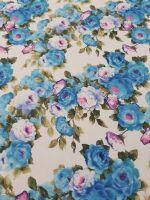 crepè stampato fiori azzurri h 145