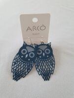 orecchini gufo blu