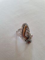 anello ocra rombo con pendagli