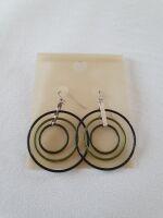 orecchini grandi 3 cerchi verde/nero